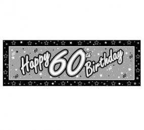60th Birthday Giant Banner - Black and Silver