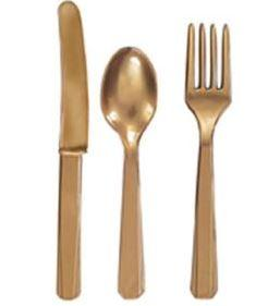 Plastic Cutlery - Gold