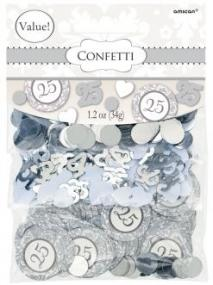 25th Silver Wedding Anniversary Table Confetti Value Pack
