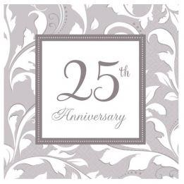 25th Silver Wedding Anniversary Paper Napkins - Scroll x 16