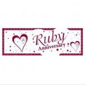 40th Ruby Anniversary Giant Banner - Hearts and Stars