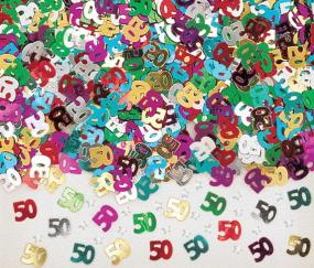 50th Birthday Multi Coloured Table Confetti