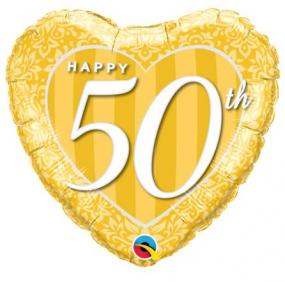 50th Golden Wedding Anniversary Foil Balloon Heart