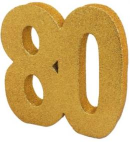 80th Birthday Gold Glitter Table Decoration