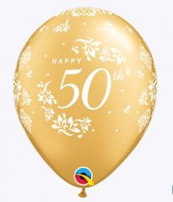50th Celebration Latex Balloons x 6 - 50th Golden Wedding or 50th Birthday