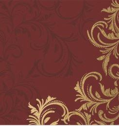 Celebration Gold and Burgundy Scroll Linen Feel Dinner Napkins
