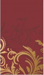 Gold and Burgundy Scroll Celebration Linen Feel Tablecloth