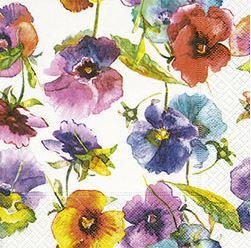 Watercolour Pansies Luncheon Napkins