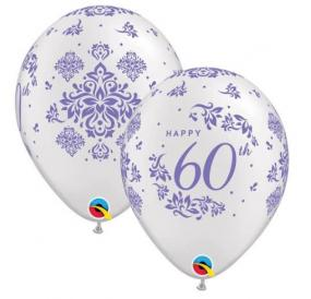 60th Diamond Wedding Anniversary Celebration Latex Balloons x 6