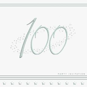 100th Birthday Invitations - Silver Stars