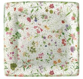 Cottage Garden Design Square Paper Dinner Plates by Caspari