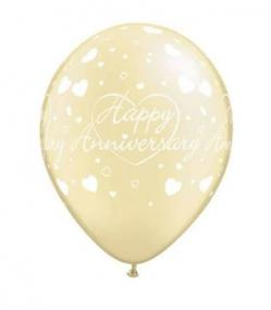 Ivory Latex Happy Anniversary Balloons Pack 25