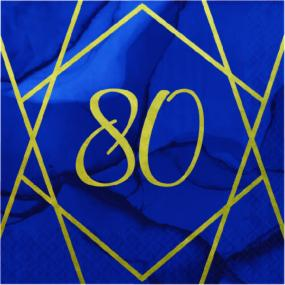 80th Birthday Napkins Blue With Geometric Design - Luncheon Size
