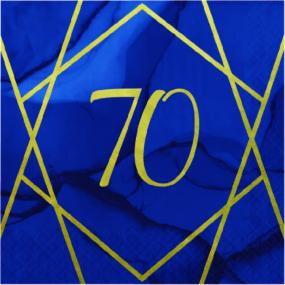 70th Birthday Napkins Blue With Geometric Design - Luncheon Size