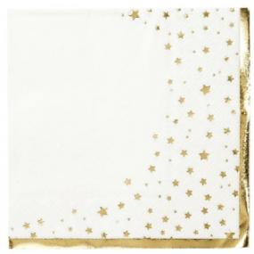 White With Gold Star Luncheon Napkins