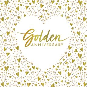 3 Ply Golden Anniversary Celebration Luncheon Napkins