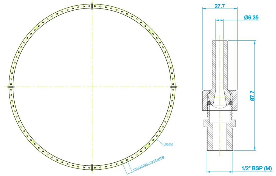 3000mm Spray Ring & Nozzle