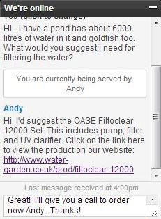 Live Chat at www.water-garden.co.uk
