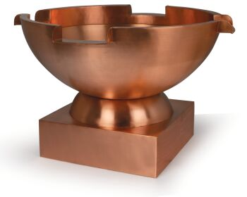 Circular Copper Bowl With 4 Spillways