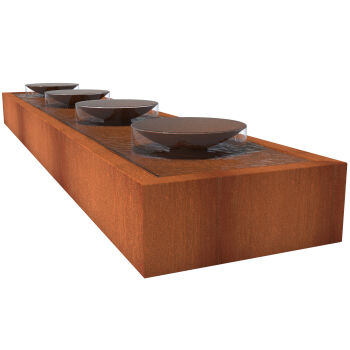 CorTen Steel Water Table with Bowls