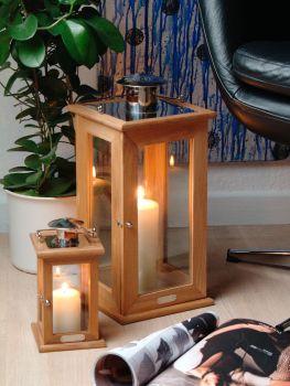 Manilla Teak Tealight Lantern (21cm Tall)